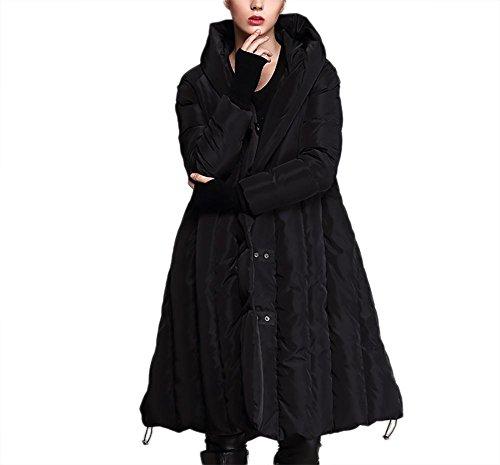 de debajo sobre suelto Señoras viento tipo cremallera de mujeres invierno algodón de A de de forma a engrosamiento prueba Outwear la capucha la chaqueta capucha mantener black las capa abrigo rodilla SrOqtz