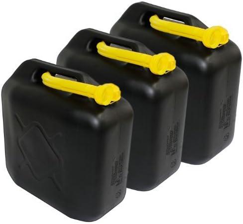 Benzinkanister Kraftstoffkanister Reserve Kanister Schwarz 3 X 20l 20 Liter Un Zulassung 3er Set Auto