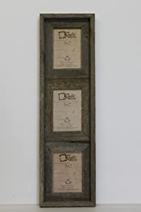 5x7 25 wide reclaimed rustic barnwood vertical collage frame holds 3 photos