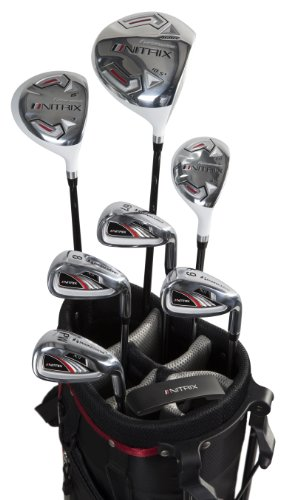 Pinemeadow Golf Men's Nitrix Pro Set Driver, 3 Wood, Hybrid, 6/7-PW Irons, Putter Bag (Right Hand, Graphite/Steel, Regular)