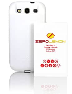 [180 days warranty] ZeroLemon Samsung Galaxy S III 7000mAh Extended Battery + Free White Extended TPU Full Edge Protection Case(Compatible with Samsung Galaxy S III GT-i9300, AT&T Samsung Galaxy S3 Samsung i747, Verizon Samsung Galaxy S3 Samsung i535, T-mobile Samsung Galaxy S3 Samsung T999, U.S. Cellular Samsung Galaxy S3 R530, and Sprint Samsung Galaxy S3 Samsung L710) ***NFC for S Beam and Google Wallet***- WORLD'S HIGHEST S3 BATTERY CAPACITY **USA PATENT PENDING DESIGN**- White