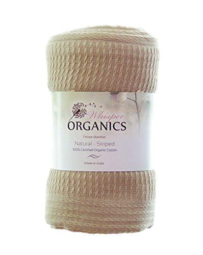 % Organic Cotton Throw Blanket - GOTS Certified (60x80, Natural) ()