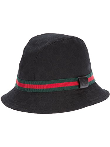 Gucci Original GG Canvas Fedora With Web Detail, Black 200036 (Medium (58 cm) 22.8 In) (Hat Gucci Canvas)