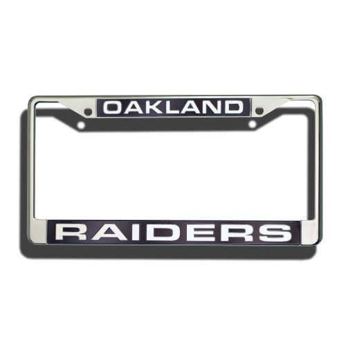 Rico Industries NFL Oakland Raiders Laser Cut Inlaid Standard Chrome License Plate (Nfl Laser Cut License Plate)