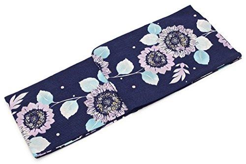 駐地黄ばむ影響レディース浴衣 bonheur saisons (ボヌールセゾン) 紺青 ネイビー 薄紫 向日葵 ひまわり ヒマワリ 縞 花 ラメ 綿麻 仕立て上がり フリーサイズ