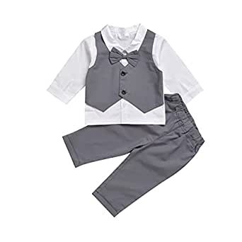 TJTJXRXR Infant and Toddler Baby Boy Gentleman Formal Party Wedding Suits Outfits (18-24Months, Grey)