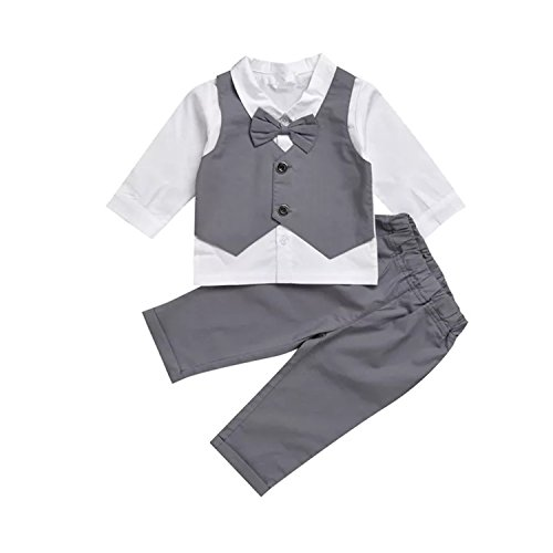 Infant and Toddler Baby Boy Gentleman Formal Party Wedding Suits Outfits (12-18Months, Grey) by TJTJXRXR