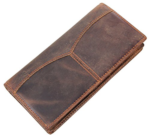 Hereby Kuer(TM) Men's Retro Simple Style Crazy Horse Leather Long Wallet (Dark Brown) by HEREBY KUER