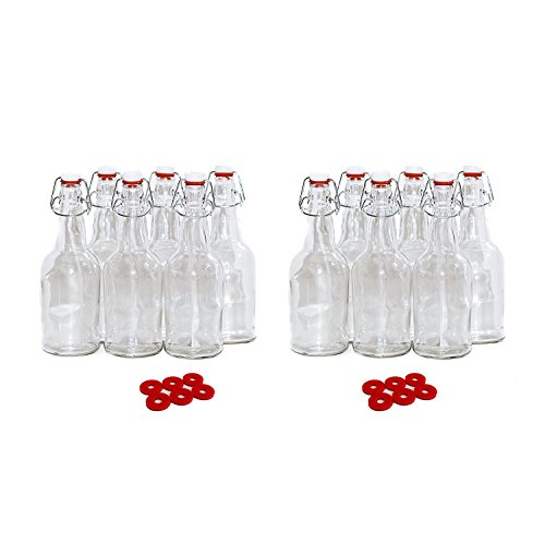 Beer Kombucha Home Brewing Bottles - 16 Ounce Swing Top Easy Cap Grolsch Style Clear Bottles - 12 Pack + 12 Extra Rubber Gaskets