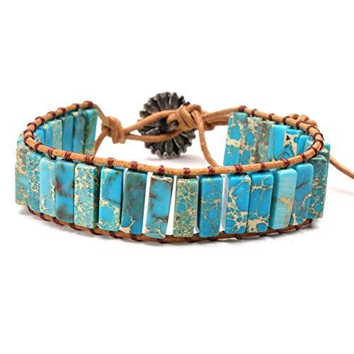 WANZIJING Women's Wrap Bracelets, 7 Chakra Natural Crystal Healing Bracelet Adjustable Imperial Jasper Gemstone Beads Leather Bangle,B