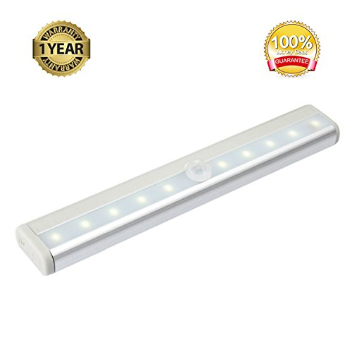 QMT Portable Aluminum Case Sensor LED Lights 10LED Cabinet Light Closet Light Drawer Control Night Light (Battery Operated) - Silver