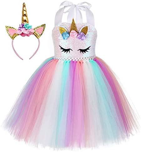 Tutu Dreams Sequin Unicorn Costume for Girls 1-10YHeadband Birthday Party Gifts Halloween