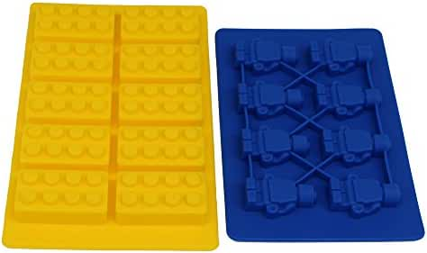Candy Molds Silicone Mold For Lego Lovers Chocolate Molds Ice Cube Molds Silicone Baking Molds 2 Style Building Blocks and Robots