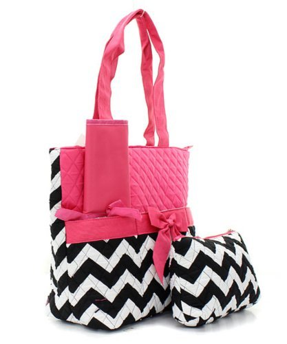 Quilted Hot Pink And Black/White Chevron Print Monogrammable