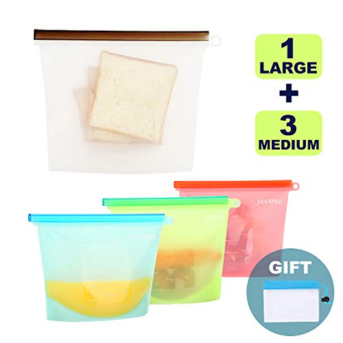 Reusable Silicone Food Storage Bags,Yeeone Food Grade Airtight Seal Versatile Preservation Bags for Sandwich, Snack, Vegetable, Liquid, Meat, lunch, fruit, Freezer Containers, 5 Pack