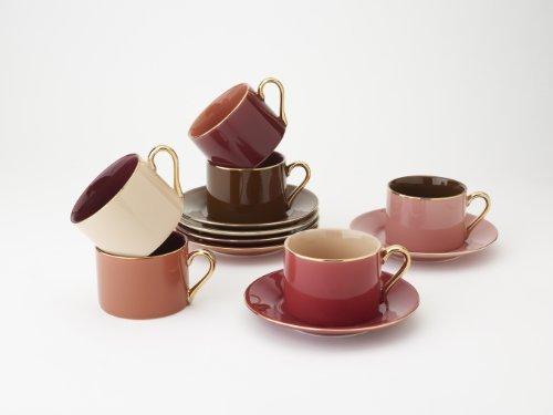 Yedi Houseware Classic Coffee and Tea Aubergine Teacups and Saucers, Purple/Brown, Set of 6 by Yedi Houseware