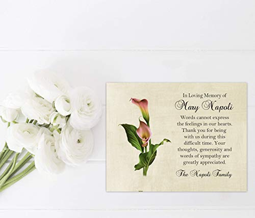 - Sympathy Acknowledgement Cards, Calla Lily Funeral Thank You and Bereavement Notes Personalized