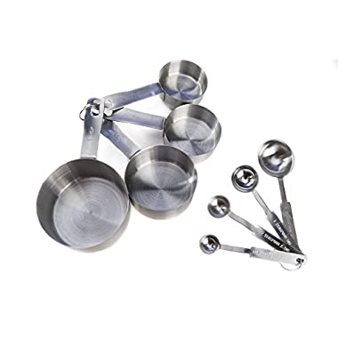 Kitchen Winners 8-piece Deluxe Stainless Steel Measuring Cup and Measuring Spoon Set