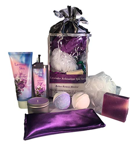 AyaZen Aromatherapy Bath and Body Gift Set-AyaZen Lavender Eye Pillow, Bath Bombs, Natural Soap, Soy Candle and More. Made In USA