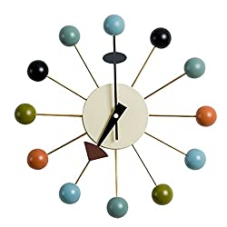 MLF Nelson Ball Clock. Multi-Color. Wooden Balls & Aluminum Quartz Holder.