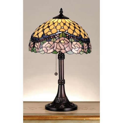 Jeweled Rose Stained Glass - Meyda Tiffany 82304 Jeweled Rose Table Lamp, 19.5