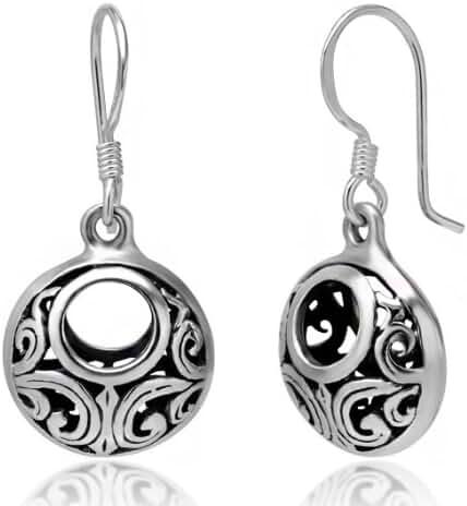 925 Oxidized Sterling Silver Bali Inspired Open Filigree Circle Dangle Hook Earrings