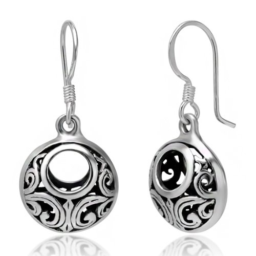 925 Oxidized Sterling Silver Bali Inspired Open Filigree Circle Dangle Hook Earrings (Sterling Circle Open Earrings Silver)