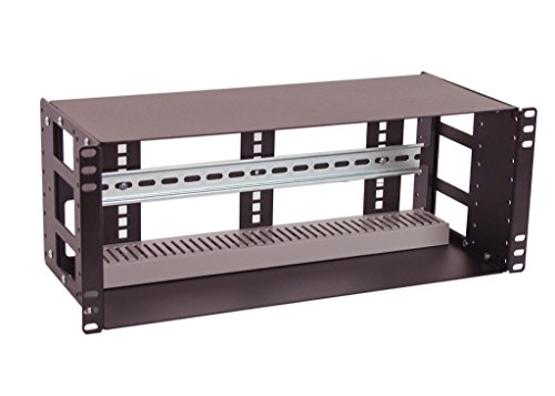 (IRP208DB-4U Fully Enclosed Rackmount 4U Compact 8 inch Deep Industrial Din Rail Panel for 19 inch 2-Post Relay Rack or 4-Post Rack Cabinet)