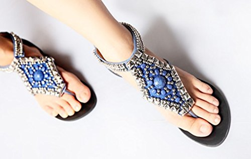 to Roman Sandals Back style Comfortable Flats CRC Flip zipper flop Blue closure Beaded Synthetic Womens Casual U1qnwCY