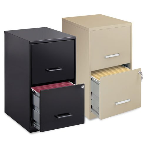 Steel File Cabinet, 2-Drawer, 14-1/4''x18''x24-1/2'', Black, Sold as 1 Each - Lorell Steel File Cabinet, 2-Drawer, 14-1/4''x18''x24-1/2'', Black