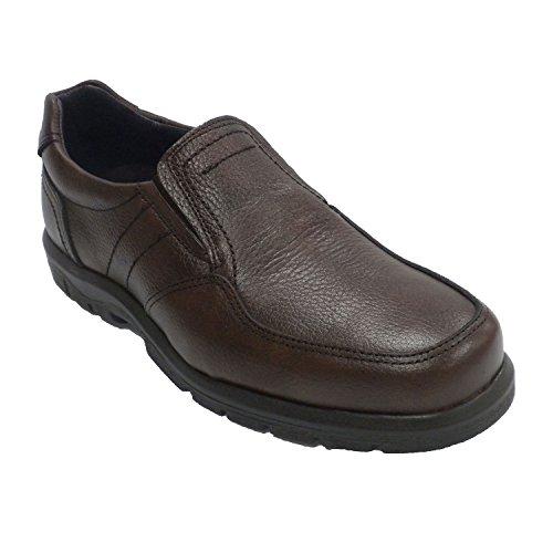 Hombre a en Clayan Piel Lados Zapato de elásticos los Goma grabada marrón Piso PXPBwd4q