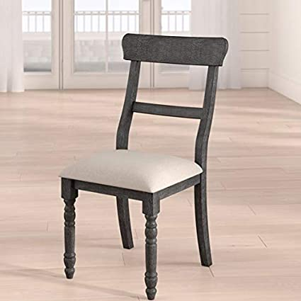 Amazon.com - Wood Dining Chair with Linen Upholstery ...
