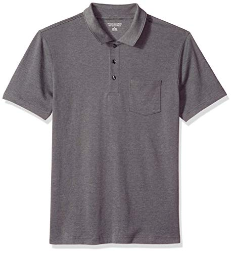 Amazon Essentials Men's Slim-Fit Pocket Jersey Polo, Charcoal Heather, Large