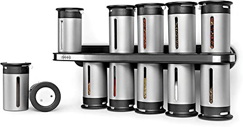 Kitchen Zevro Zero Gravity Magnetic Spice Rack with 12 Canisters spice racks