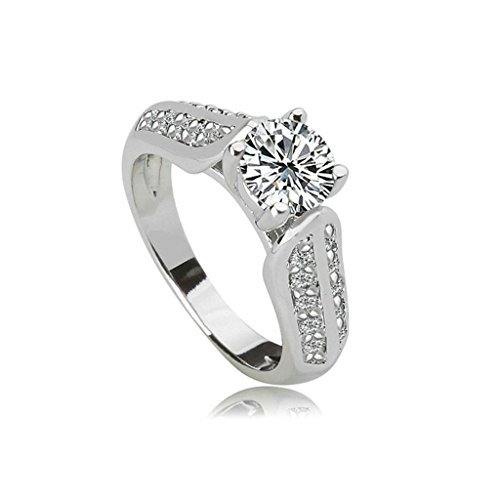 Epinki Women Wedding Bands Anniversary Engagement Ring Bridal Set 4-Prong White Cubic Zirconia Size ()