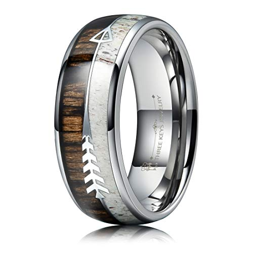- THREE KEYS JEWELRY 8mm Silver Tungsten Wedding Ring with Real Antler Zebra Wood Two Arrows Inlay Dome Hunting Ring Wedding Band Engagement Ring Size 14