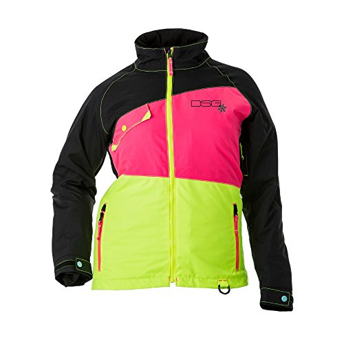 DSG Outerwear Women's Brightly Colored Verge Jacket - Warm Water-Proof Breathable Winter Snow Coat With Headphone Jack Thumb Hole and Night-Time Visibility (Pink Black Blue, (Quilted Riding Jacket)