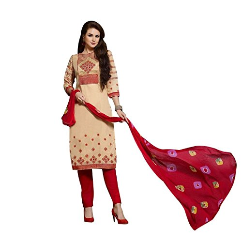 Ready Made Cotton Embroidered Salwar Kameez Tie Dye Chifon Dupatta – 0X Plus, Beige