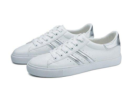 XIE Señora Zapatos Simple Pequeños Zapatos Blancos PU Ocio Movimiento Estudiantes Escuela Diario Correr Cuatro Colores, Gold, 36 SILVER-38