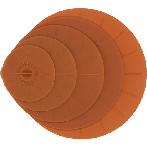 """(Brown Silicone Suction Lids - 5 Reusable Flat Covers For Food, Bowls, Pans, Cups, Pots, Microwave – Includes large almost 14"""" 