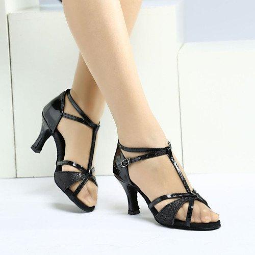 T.T-Q Zapatillas de Baile para Mujer Zapatillas de tacón de satén Zapatillas de Deporte Tacón Cubano Principiante Negro Negro