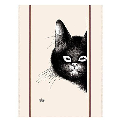 (Torchons & Bouchons, Dubout, Chats Souris (Smiling Cats) Printed Kitchen Tea Towel, 100% Cotton)
