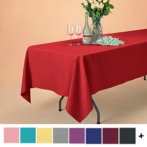Remedios 60 x 102-inch Rectangle Polyester Tablecloth Table Cover - Wedding Restaurant Party Banquet Decoration, Red (Red Cloth Wedding And White Table)