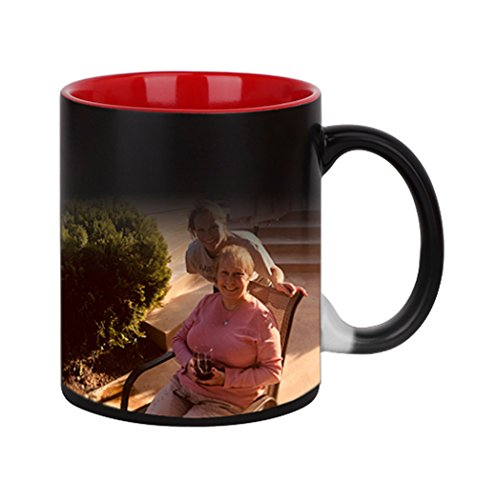 olor Changing Coffee Mug Cup, Personalized DIY Print Ceramic Hot Heat Sensitive Cup Birthday Christmas Gift -Add YOUR PHOTO&TEXT (Red Inside) (2 Photo Coffee Mug)