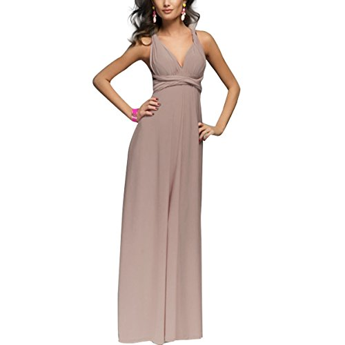 Women Transformer Convertible Multi Way Wrap Long Prom Maxi Dress V-Neck Hight Low Wedding Bridesmaid Evening Party Grecian Dresses Boho Backless Halter Formal Cocktail Dance Gown Light Brown Large