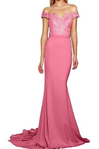 gerade Tuell Wassermelone Meerjungfrau Kragen Abendkleid Ausschnitt Festkleid Ballkleid Elegant Partykleid Schleppe Applikation Spitze V Ivydressing q6RwvXvx