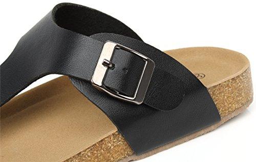 AgeeMi Shoes Unisex Slip On Offener Zeh Doppel Riemen Gummi Flats Sandalen,EuL03 Schwarz 36