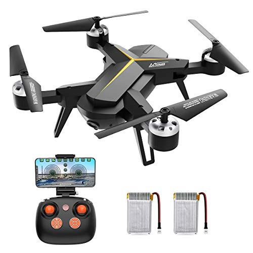 Drone with 720P HD Camera for Kids & Adults, WiFi FPV RC Quadcopter with Headless Mode, Altitude Hold, One Key Return Home, 2.4Ghz 6-Axis Gyro Beginners Drone, Long Flight Time Flying UFO