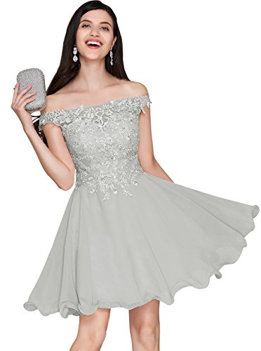 Women's Off Shoulder Cocktail Dress Lace Above Knee Chiffon A Line Wedding Party Gown Silver Grey Size 8 Bodice Short Dress Cocktail Dress