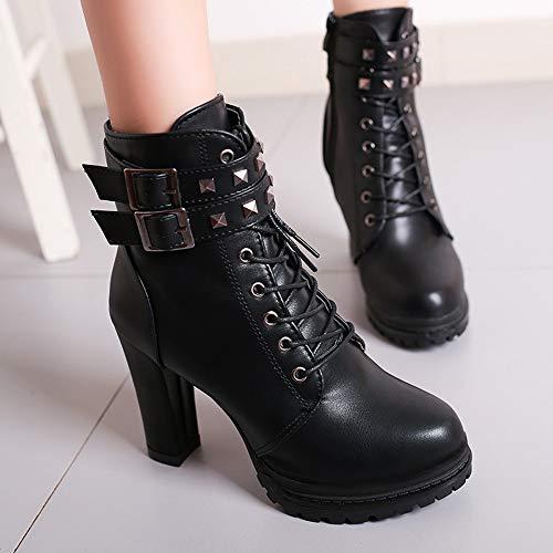 mollet Plateforme De D'hiver Combat Chaussures Bottes Femmes Automne Gothique Noir Cuir Tan Taille Dames Arme Cheville Semelles Zip Mi Dsert Chukka Z7w1qxnw4